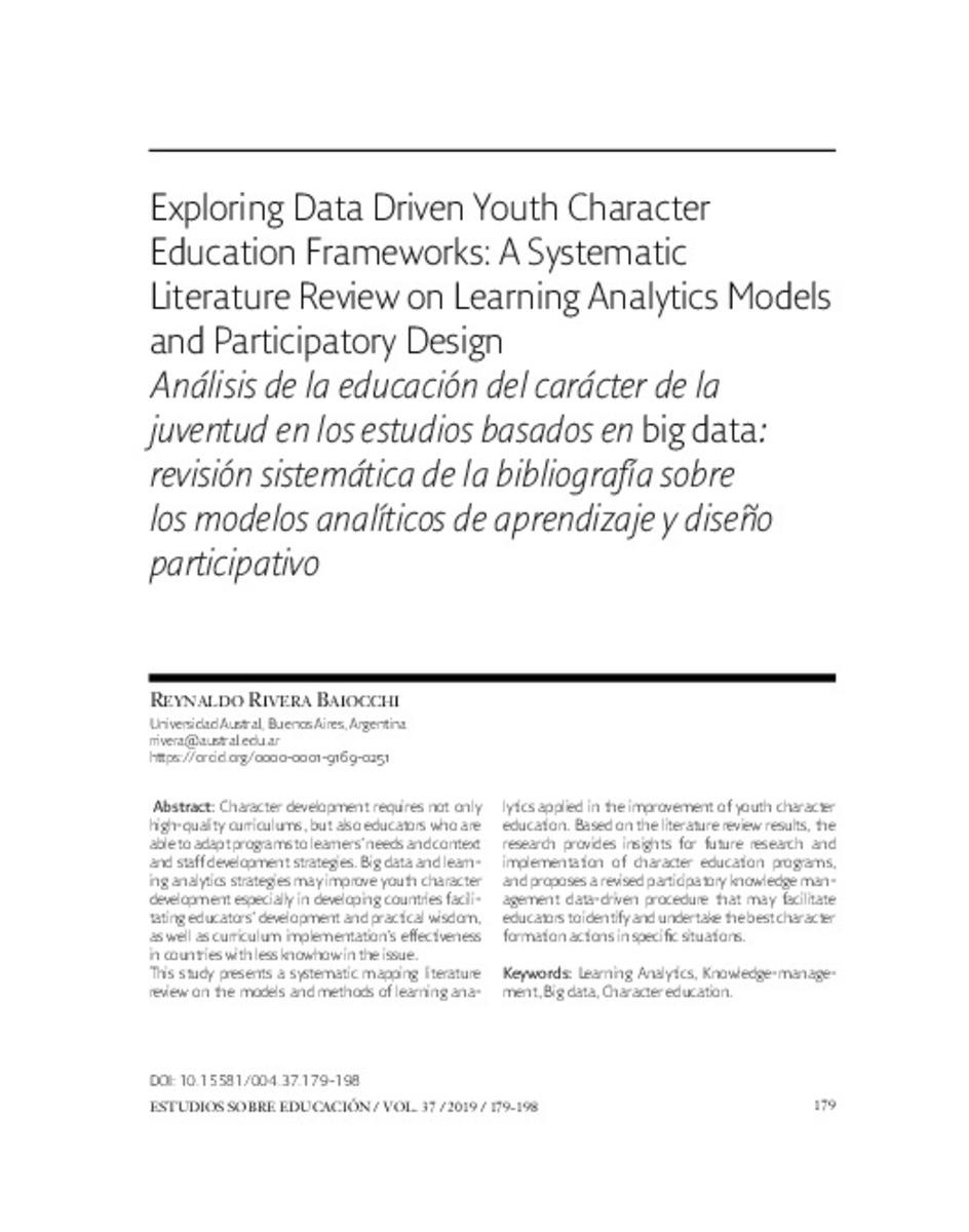 (PDF) Exploring Data Driven Youth Character Education ...